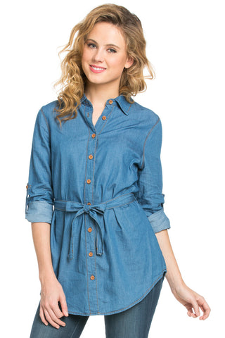 Chambray Tunic Dress with Waist Tie - Tunic - My Yuccie - 1