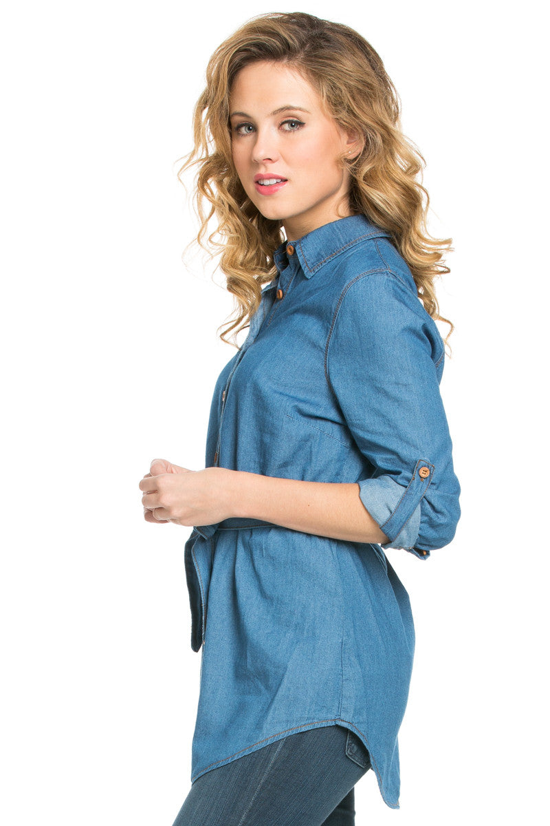 Chambray Tunic Dress with Waist Tie - Tunic - My Yuccie - 2