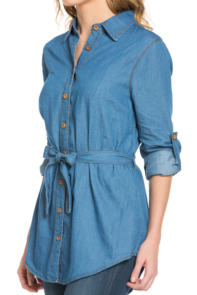 Chambray Tunic Dress with Waist Tie - Tunic - My Yuccie - 3