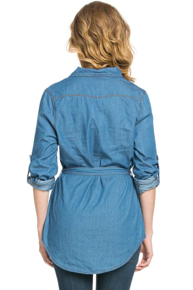 Chambray Tunic Dress with Waist Tie - Tunic - My Yuccie - 4