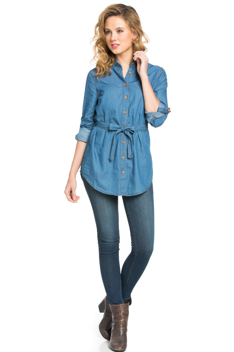 Chambray Tunic Dress with Waist Tie - Tunic - My Yuccie - 5