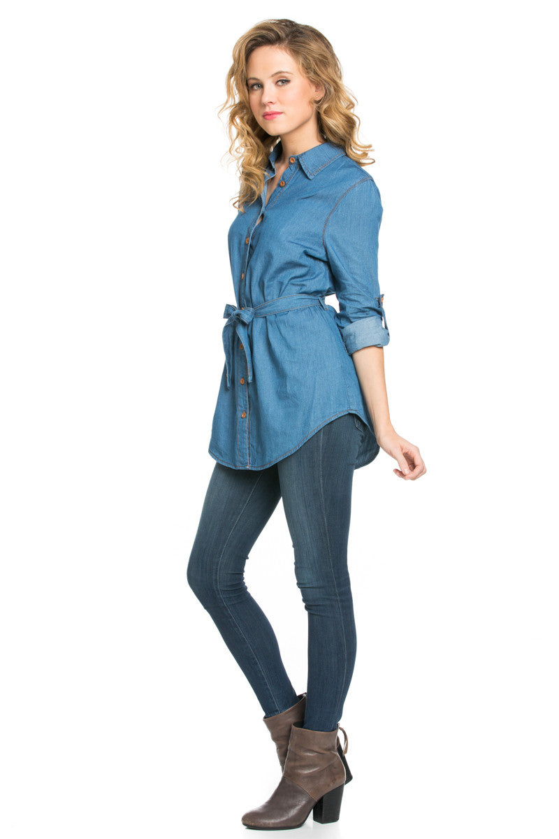 Chambray Tunic Dress with Waist Tie - Tunic - My Yuccie - 6