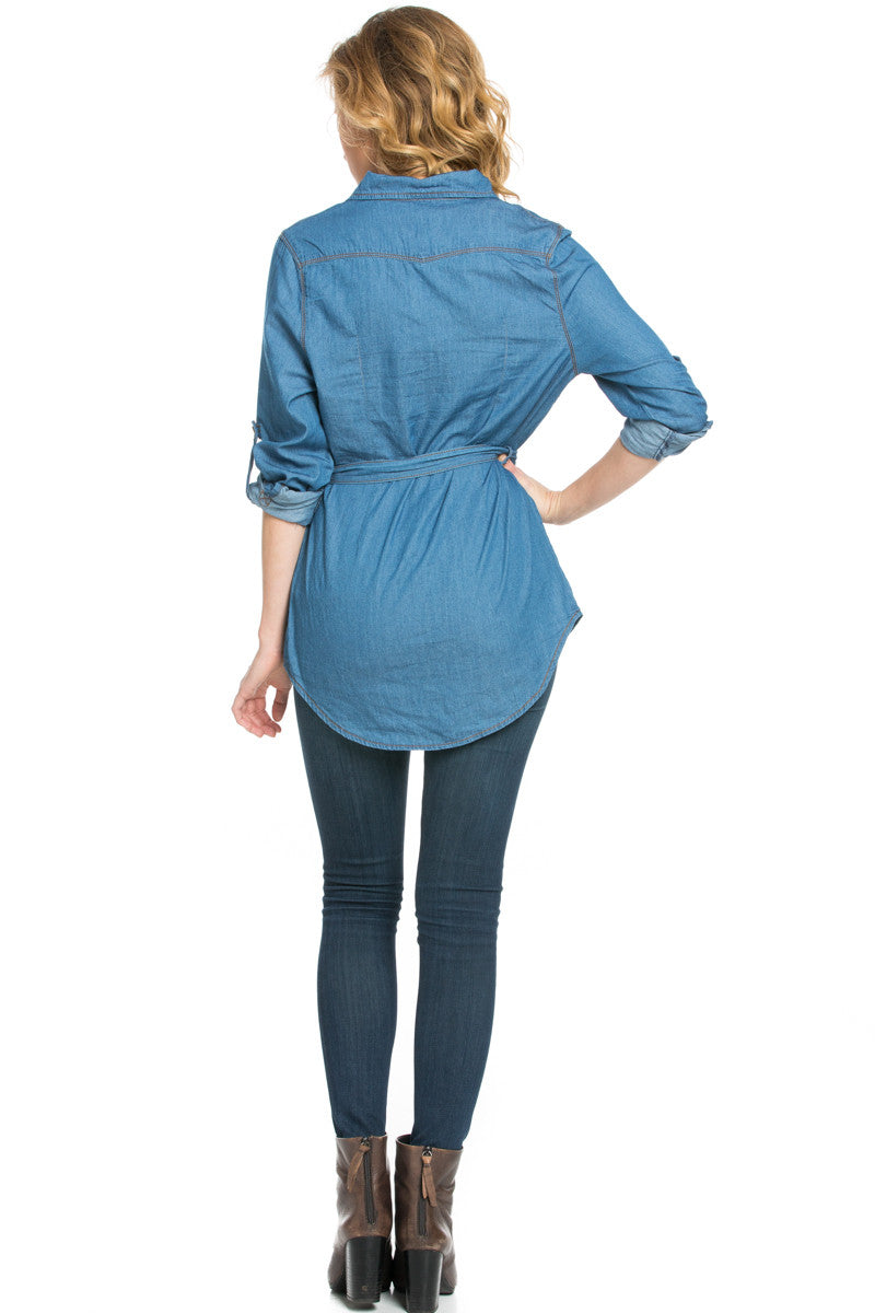 Chambray Tunic Dress with Waist Tie - Tunic - My Yuccie - 7
