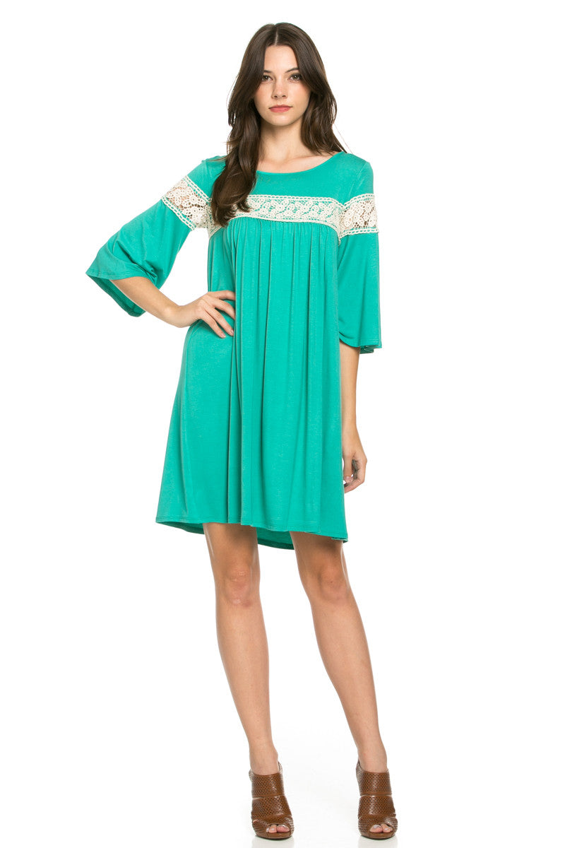 Crochet Trim Bell Sleeve Swing Knit Dress Mint - Dresses - My Yuccie - 2