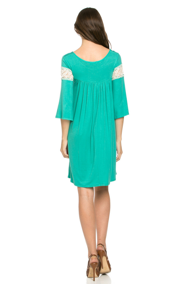 Crochet Trim Bell Sleeve Swing Knit Dress Mint - Dresses - My Yuccie - 3