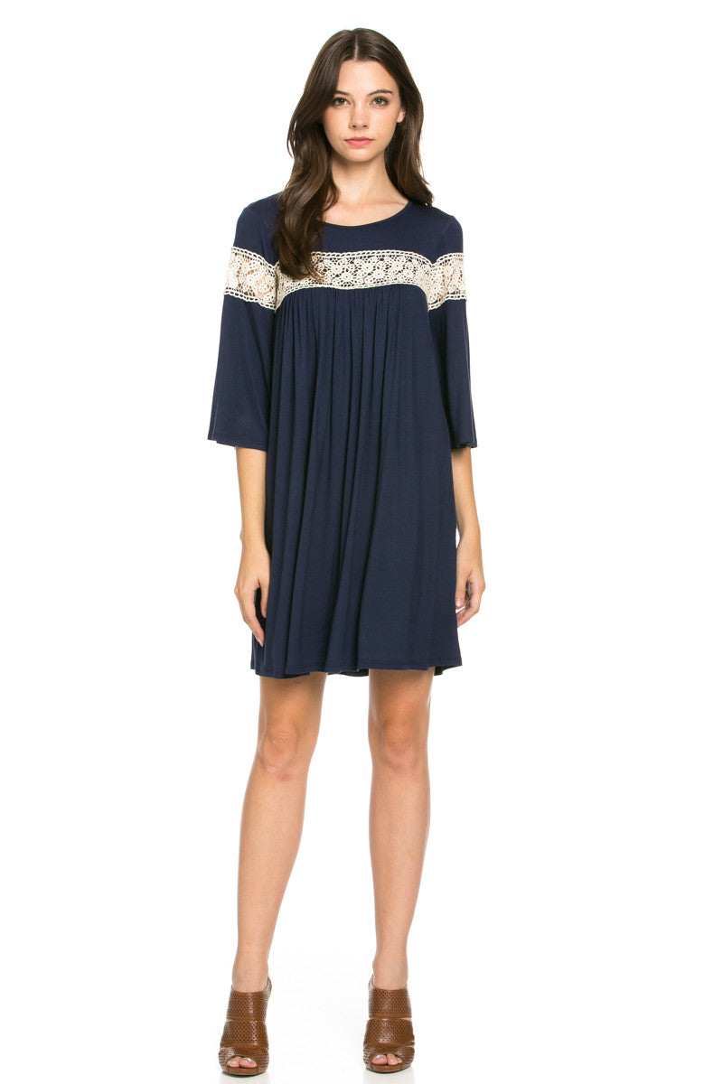 Crochet Trim Bell Sleeve Swing Knit Dress Navy - Dresses - My Yuccie - 1