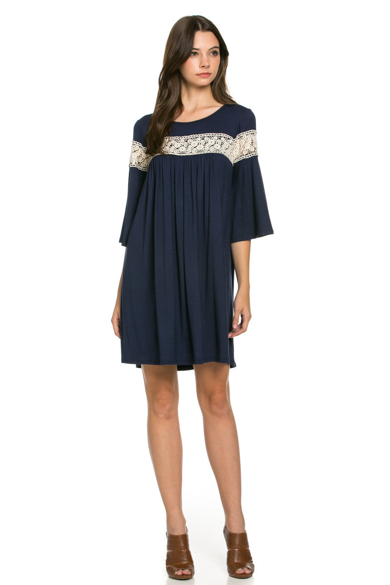 Crochet Trim Bell Sleeve Swing Knit Dress Navy - Dresses - My Yuccie - 2
