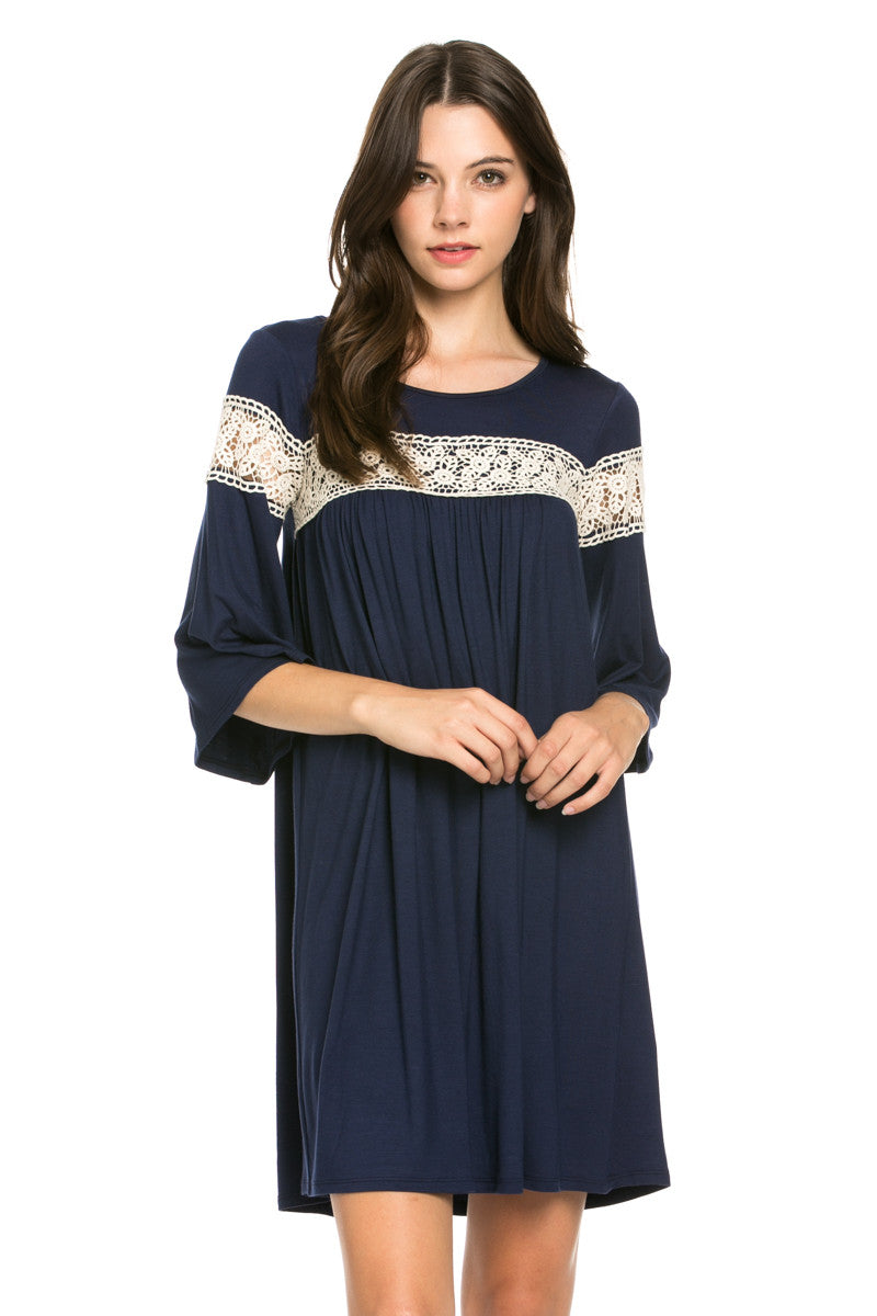 Crochet Trim Bell Sleeve Swing Knit Dress Navy - Dresses - My Yuccie - 3