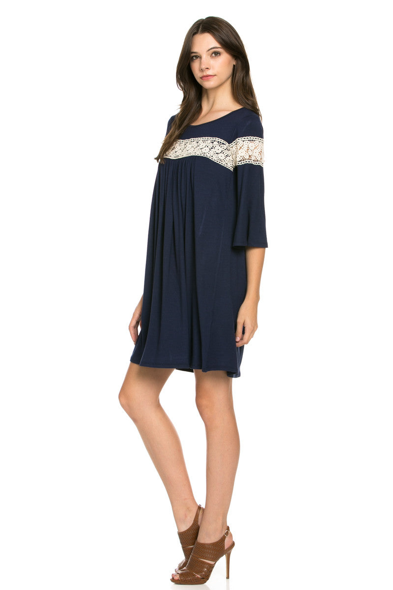 Crochet Trim Bell Sleeve Swing Knit Dress Navy - Dresses - My Yuccie - 4