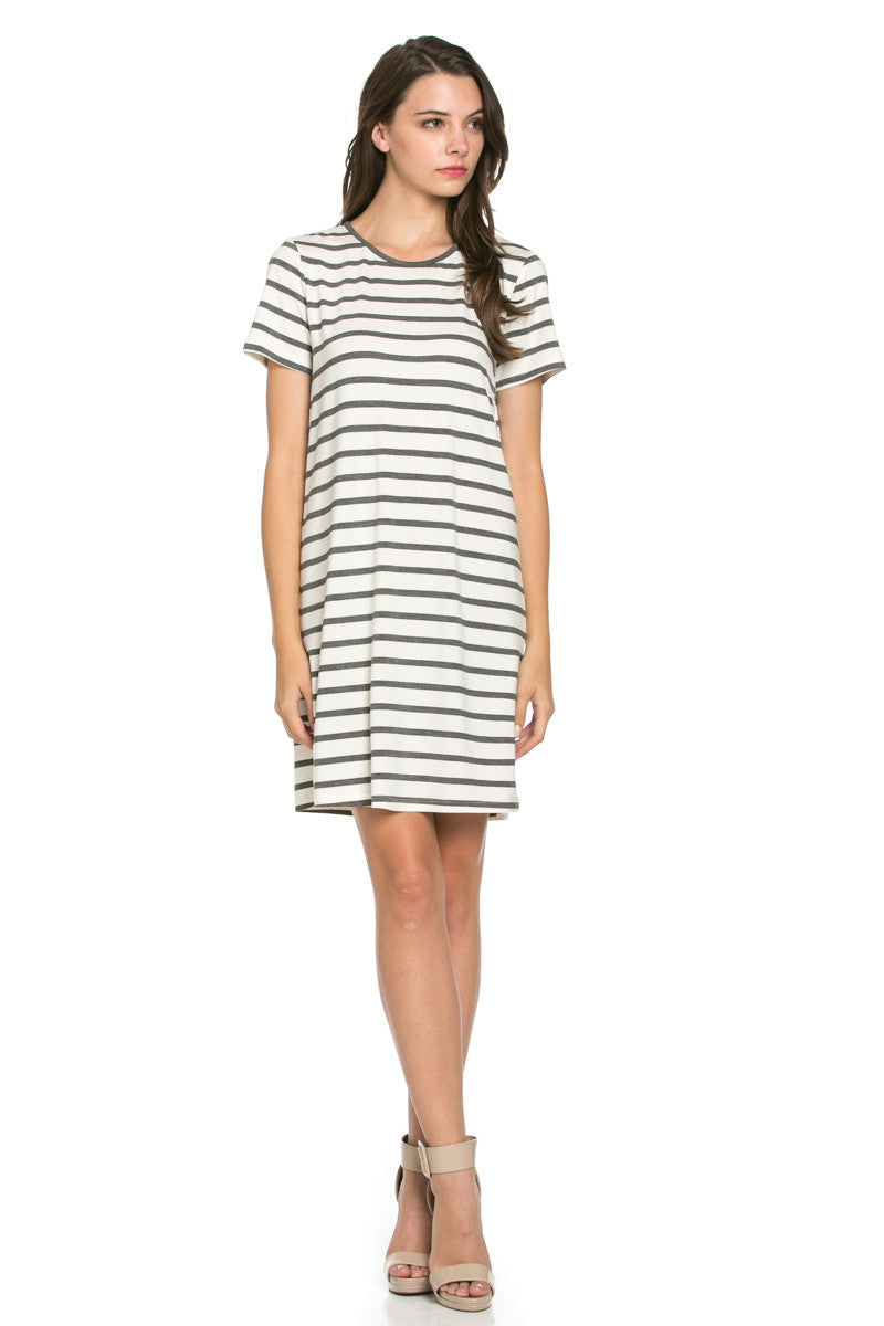 All About Stripes Dress Charcoal - Dresses - My Yuccie