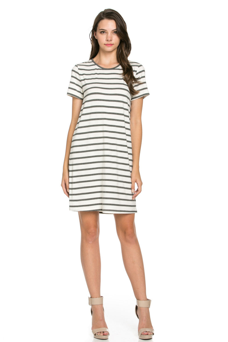All About Stripes Dress Charcoal - Dresses - My Yuccie - 2