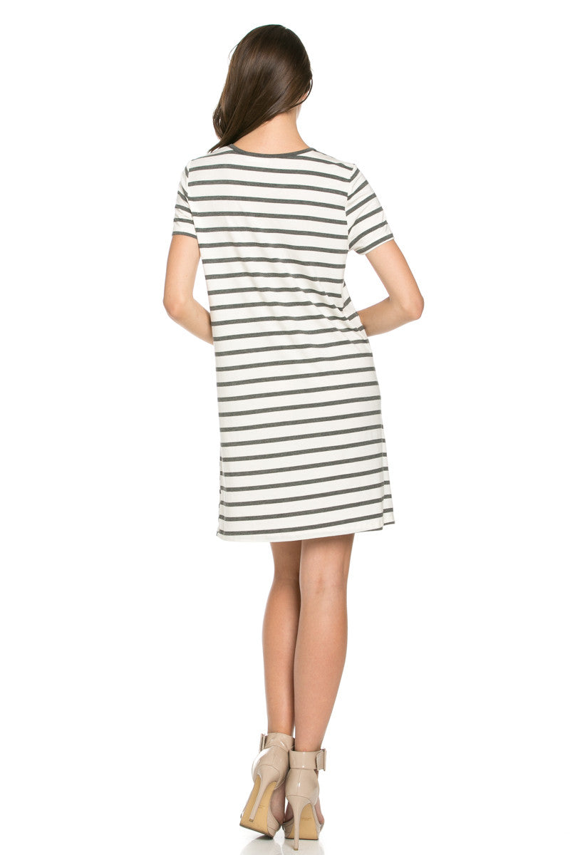 All About Stripes Dress Charcoal - Dresses - My Yuccie - 3