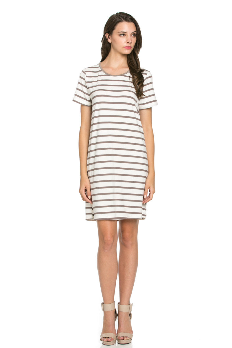 All About Stripes Dress Cocoa - Dresses - My Yuccie - 1