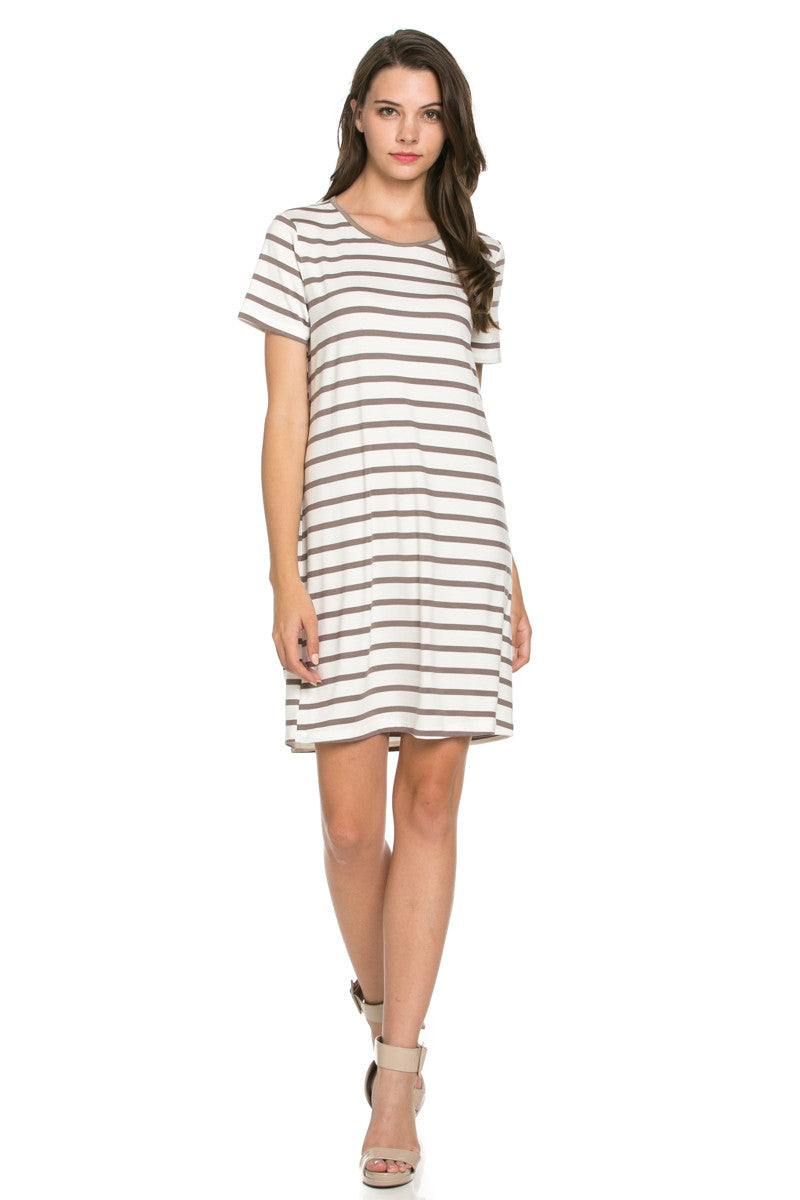 All About Stripes Dress Cocoa - Dresses - My Yuccie - 2