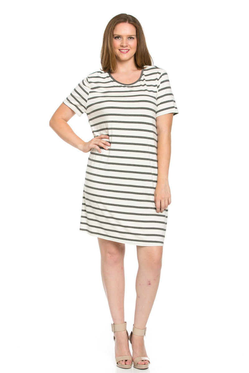 All About Stripes Dress Plus Size Charcoal - Dresses - My Yuccie - 1