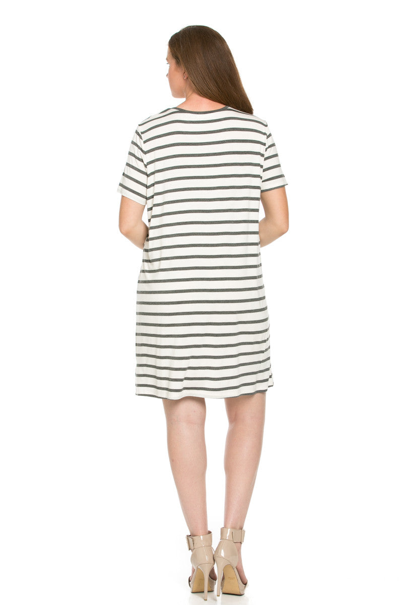 All About Stripes Dress Plus Size Charcoal - Dresses - My Yuccie - 2