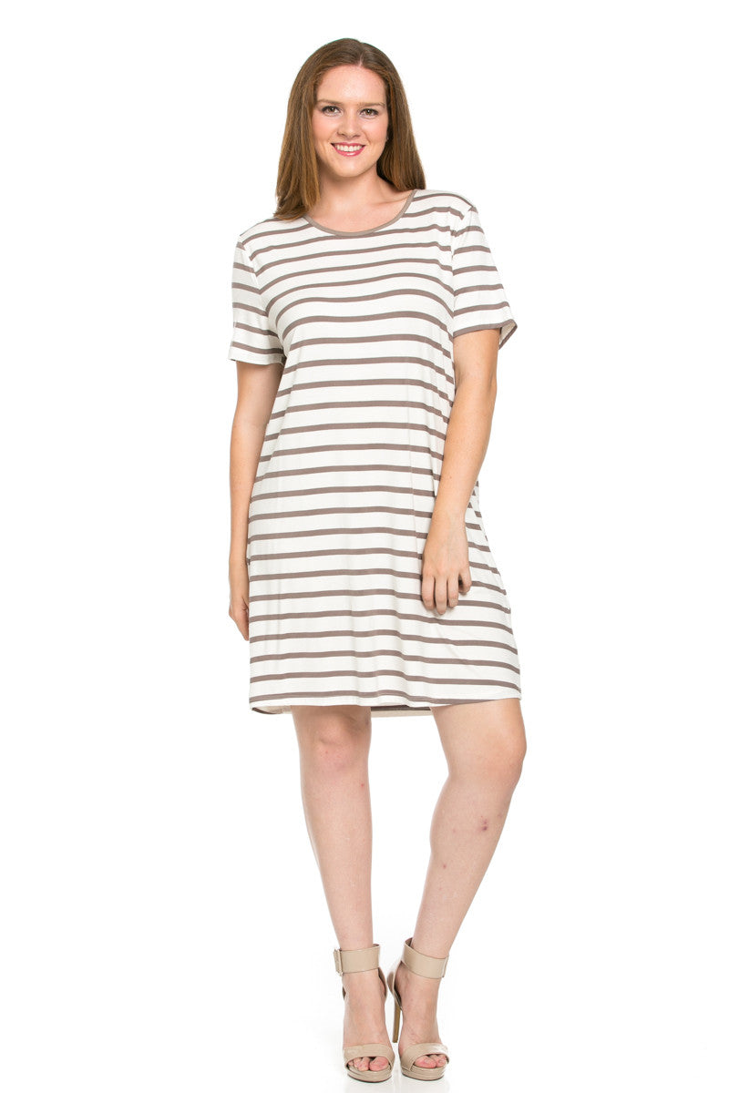 All About Stripes Dress Plus Size Cocoa - Dresses - My Yuccie - 1