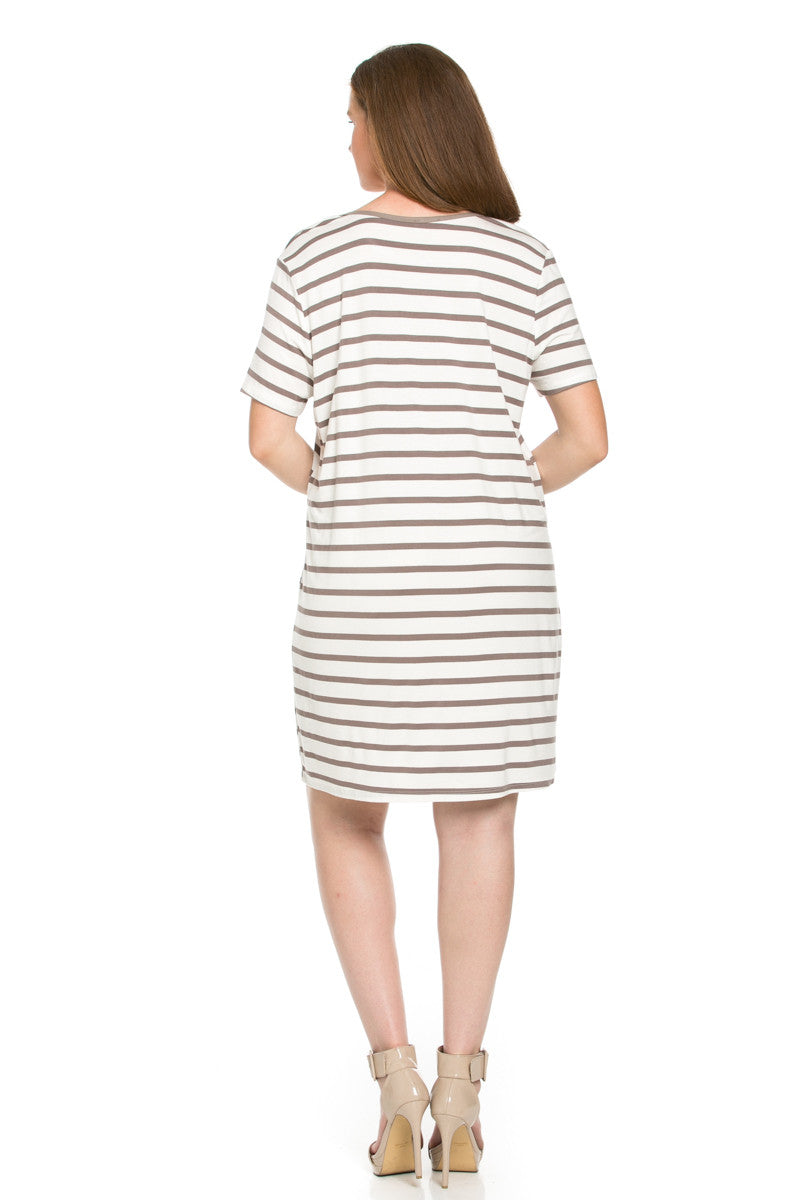 All About Stripes Dress Plus Size Cocoa - Dresses - My Yuccie - 2