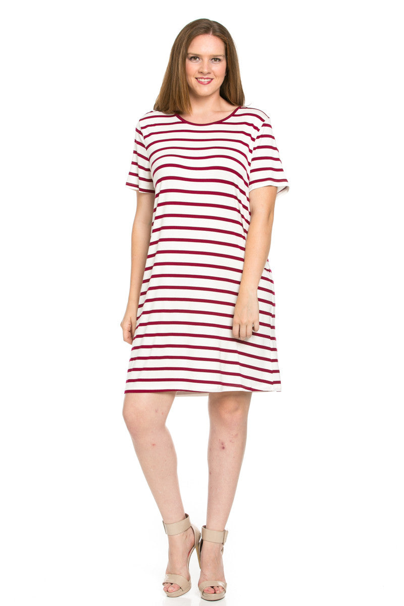 All About Stripes Dress Plus Size Wine - Dresses - My Yuccie - 1