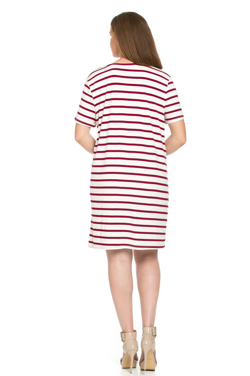 All About Stripes Dress Plus Size Wine - Dresses - My Yuccie - 2