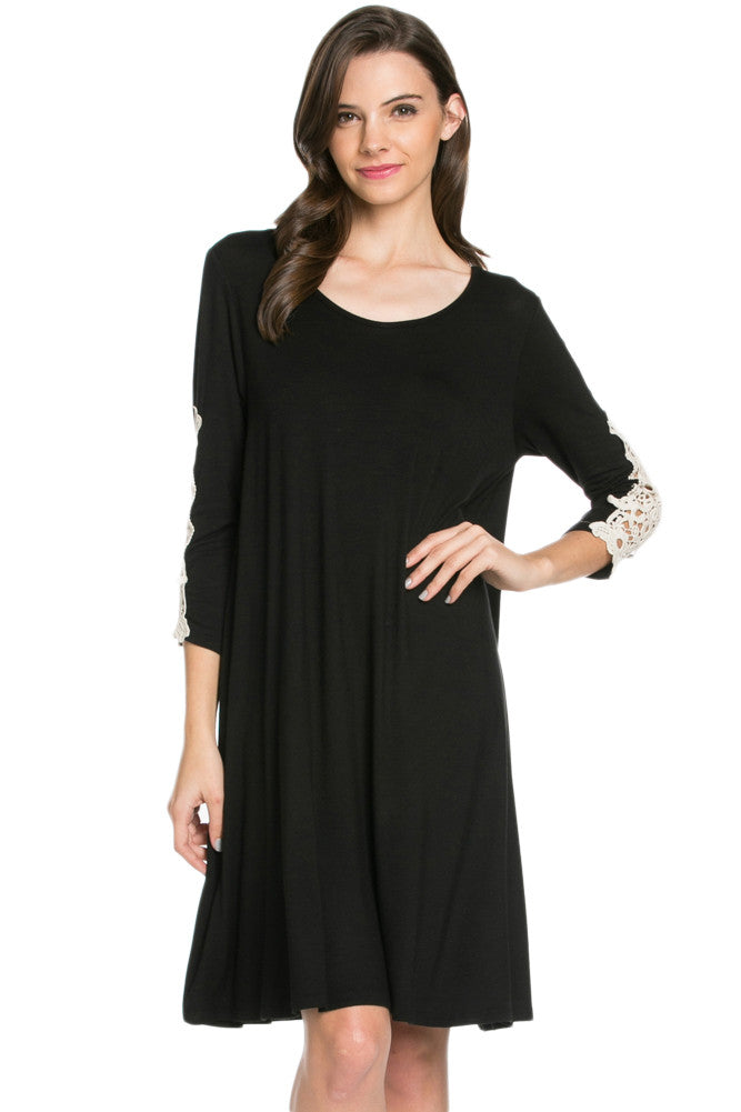 Crochet Elbow Patch A-line Tunic Knit Dress Black - Dresses - My Yuccie - 1