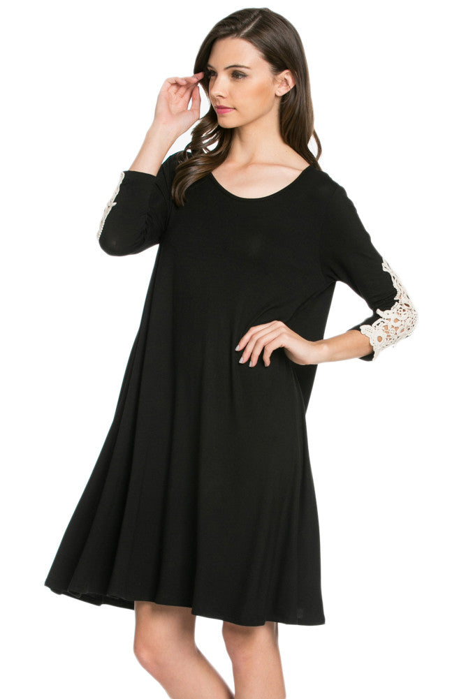 Crochet Elbow Patch A-line Tunic Knit Dress Black - Dresses - My Yuccie - 2