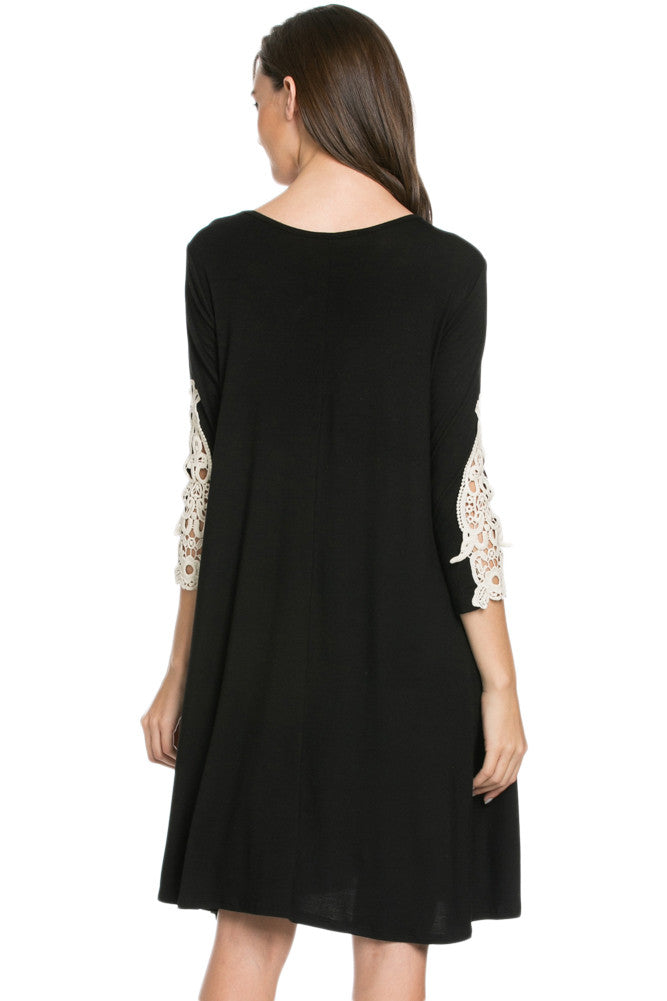 Crochet Elbow Patch A-line Tunic Knit Dress Black - Dresses - My Yuccie - 3