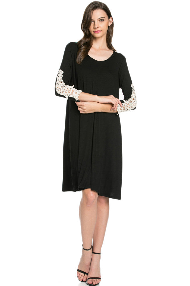 Crochet Elbow Patch A-line Tunic Knit Dress Black - Dresses - My Yuccie - 4