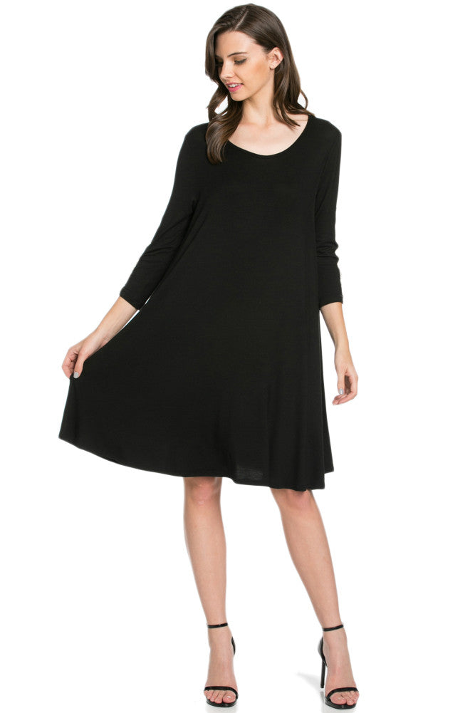 Crochet Elbow Patch A-line Tunic Knit Dress Black - Dresses - My Yuccie - 5
