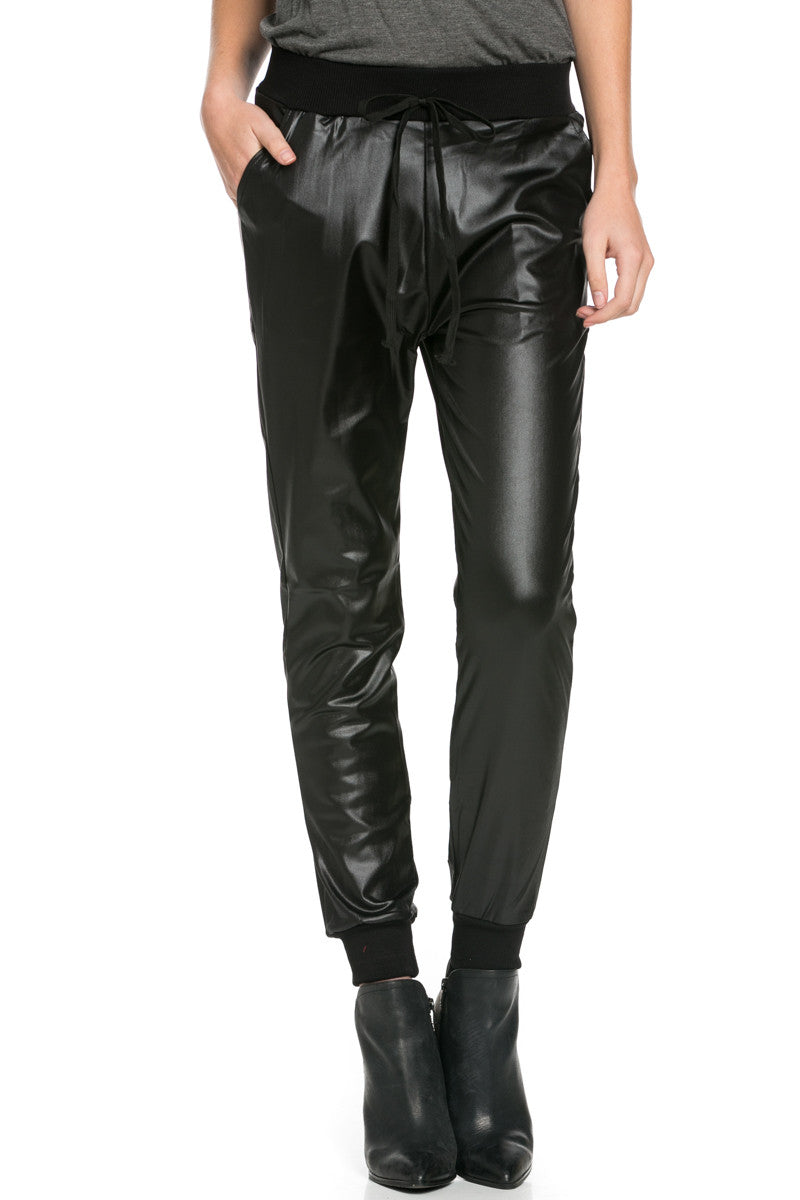 Pu Faux Leather Trouser Pants Black - Pants - My Yuccie - 1