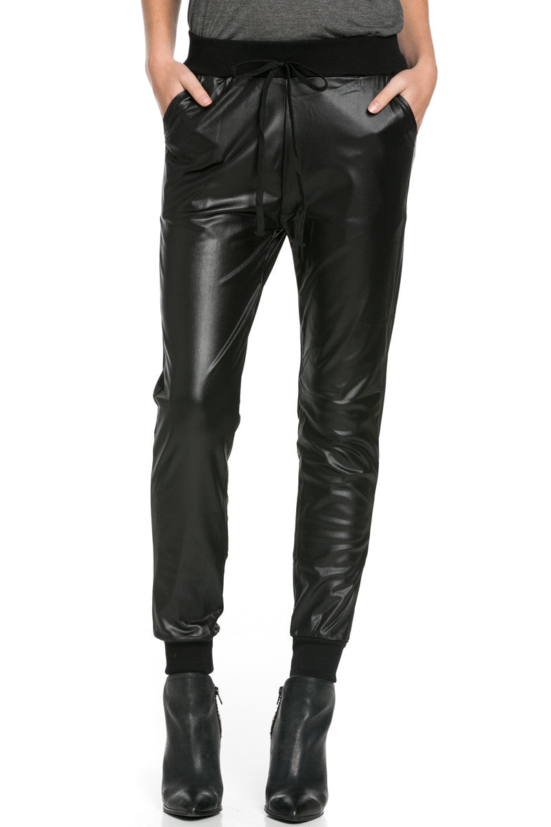 Pu Faux Leather Trouser Pants Black - Pants - My Yuccie - 2