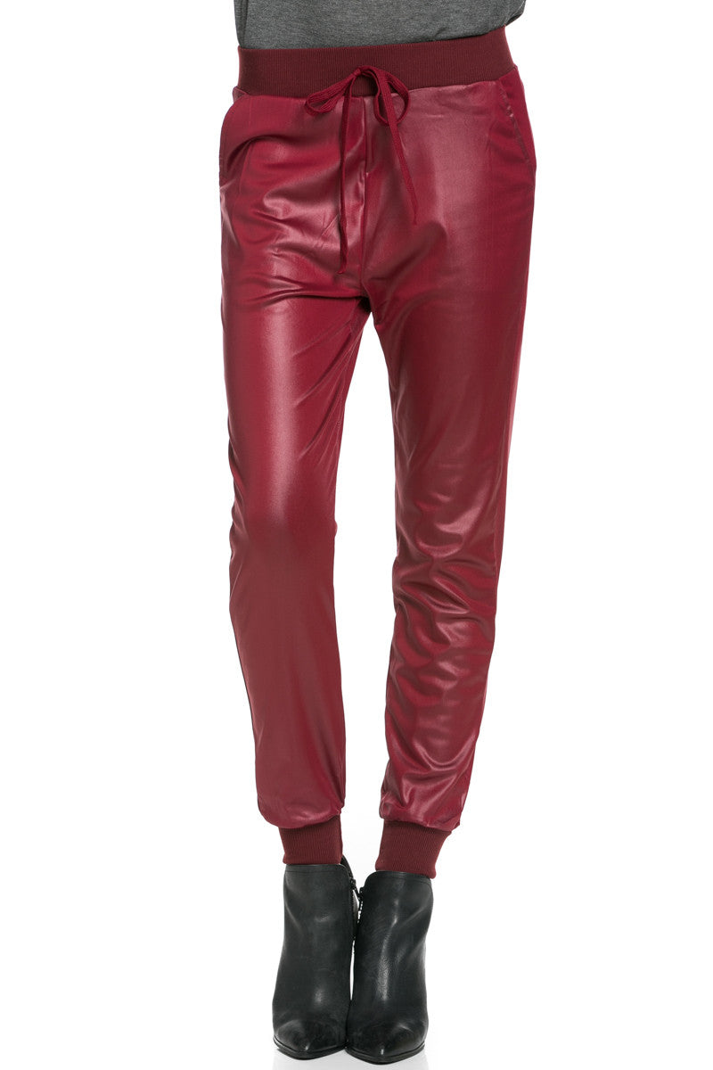 Pu Faux Leather Trouser Pants Burgundy - Pants - My Yuccie - 1