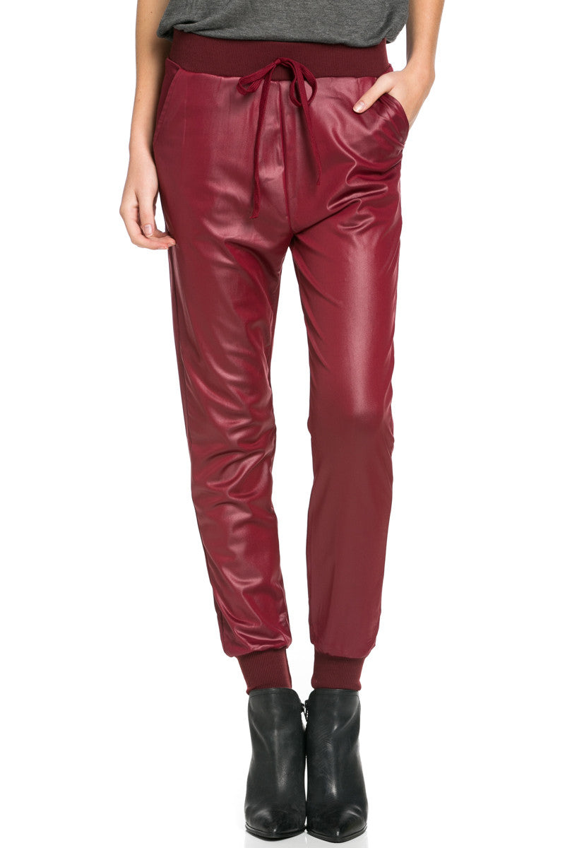 Pu Faux Leather Trouser Pants Burgundy - Pants - My Yuccie - 2