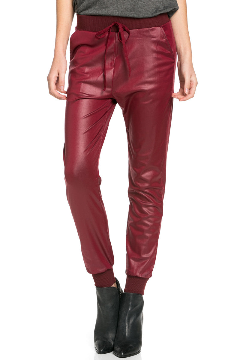 Pu Faux Leather Trouser Pants Burgundy - Pants - My Yuccie - 3