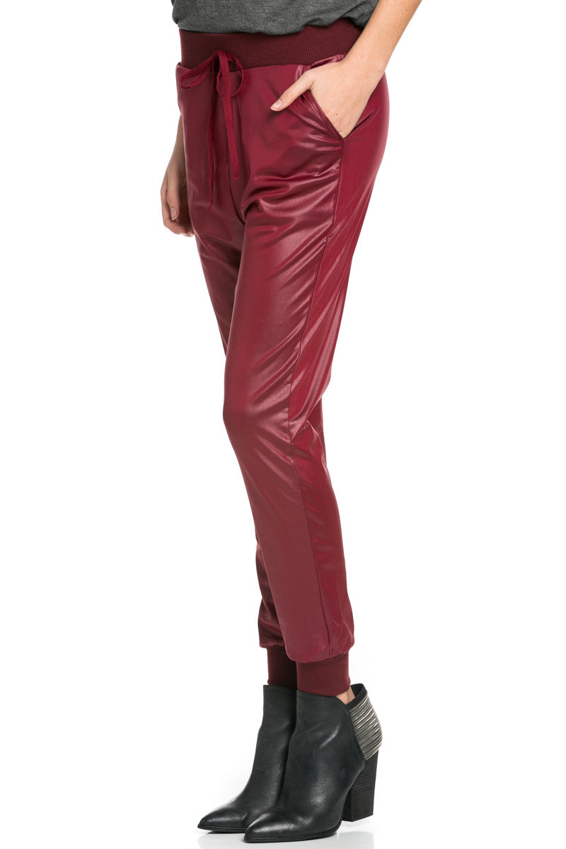 Pu Faux Leather Trouser Pants Burgundy - Pants - My Yuccie - 4