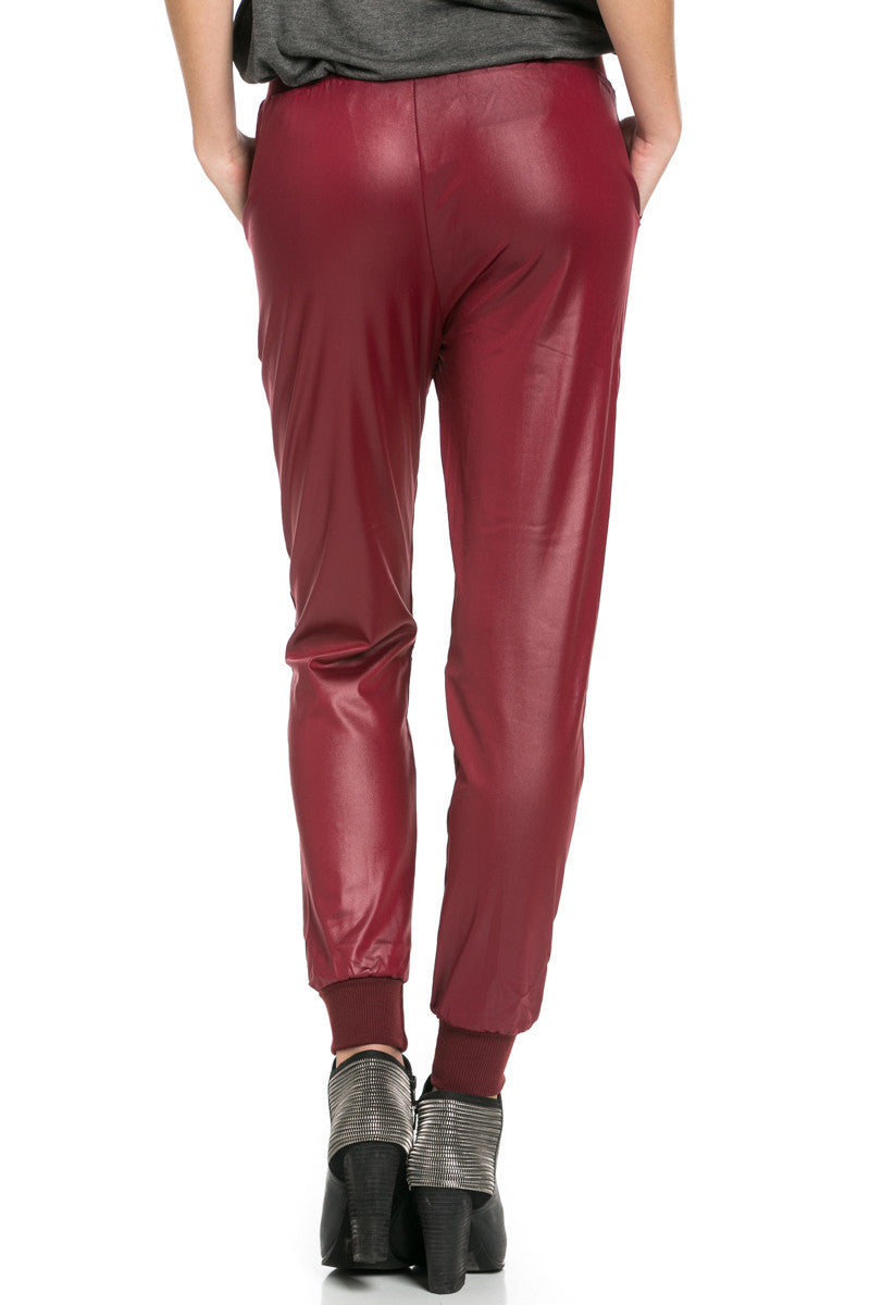 Pu Faux Leather Trouser Pants Burgundy - Pants - My Yuccie - 5