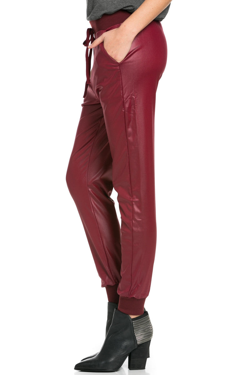 Pu Faux Leather Trouser Pants Burgundy - Pants - My Yuccie - 6