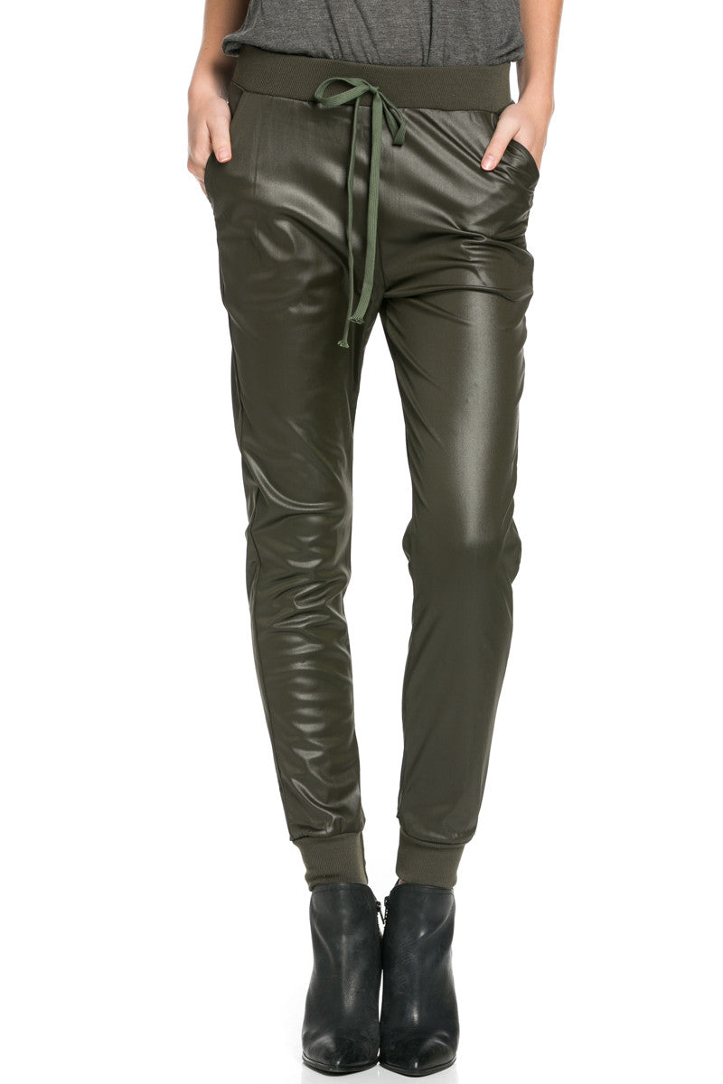 Pu Faux Leather Trouser Pants Olive - Pants - My Yuccie