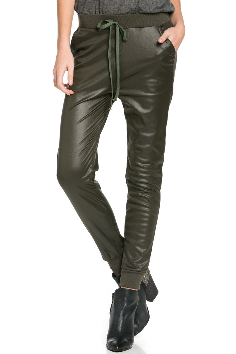 Pu Faux Leather Trouser Pants Olive - Pants - My Yuccie - 2