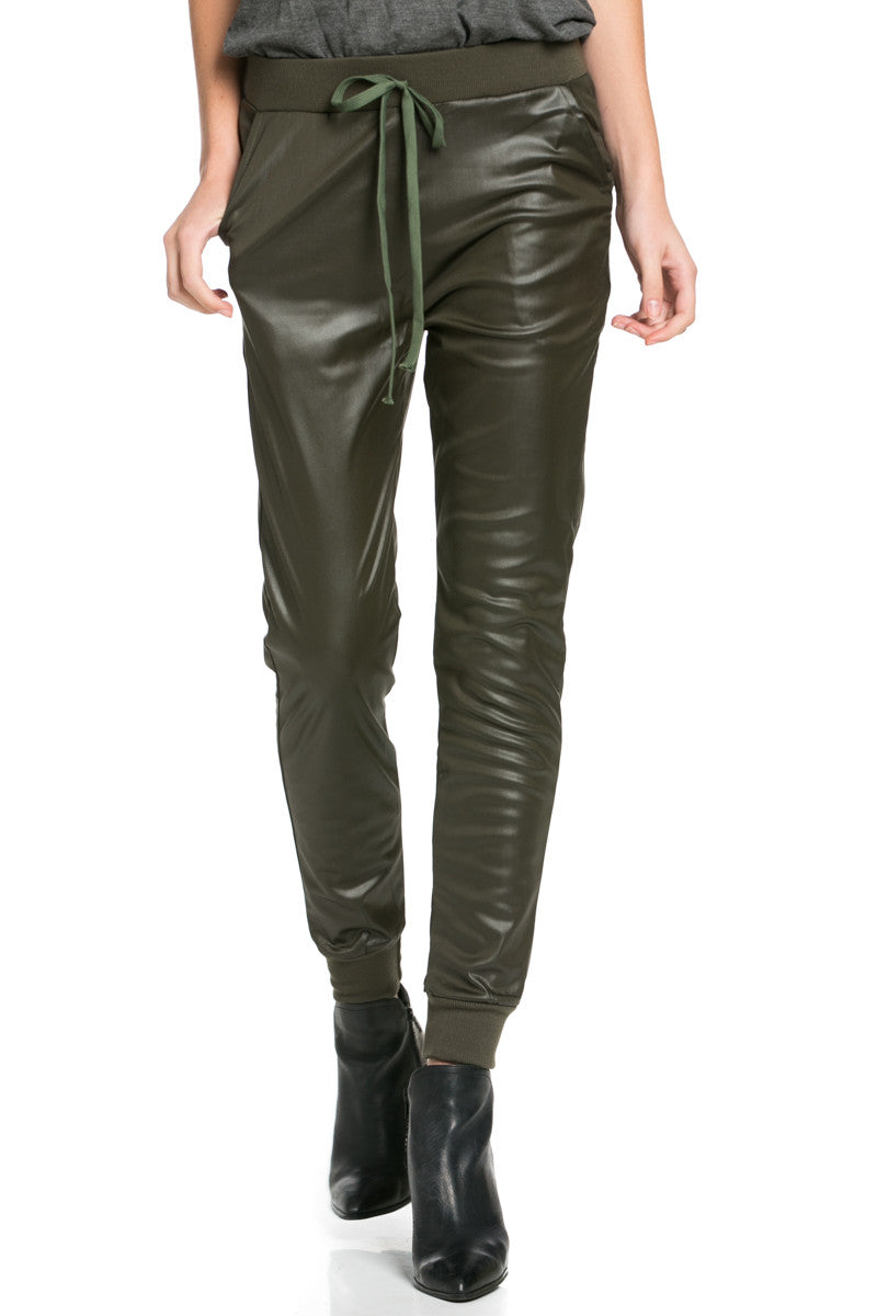 Pu Faux Leather Trouser Pants Olive - Pants - My Yuccie - 3