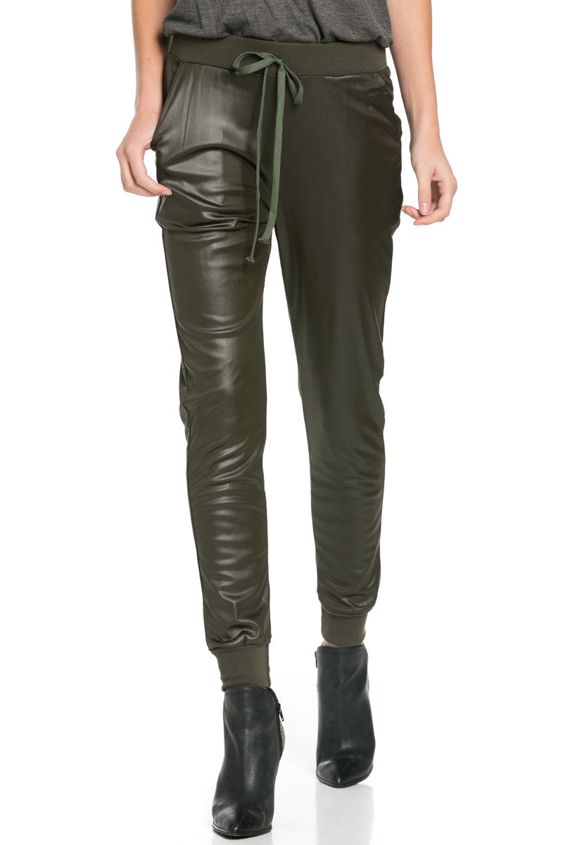 Pu Faux Leather Trouser Pants Olive - Pants - My Yuccie - 4