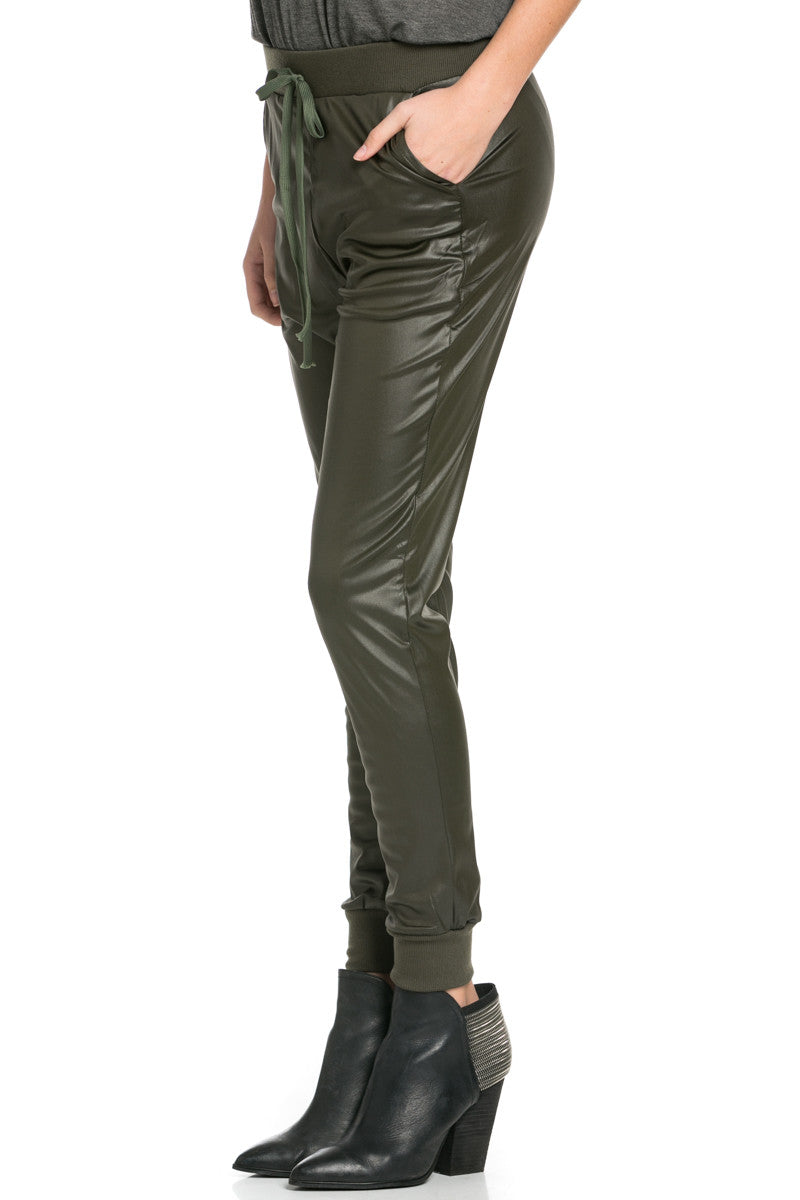 Pu Faux Leather Trouser Pants Olive - Pants - My Yuccie - 5
