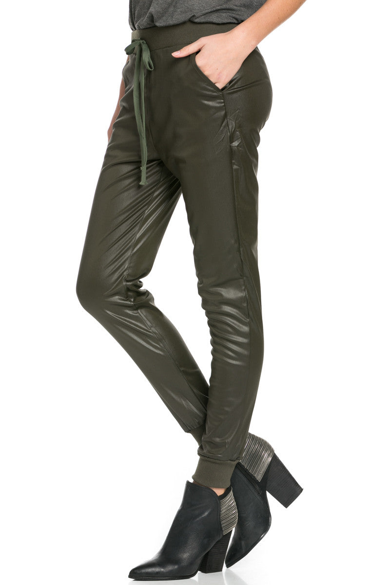 Pu Faux Leather Trouser Pants Olive - Pants - My Yuccie - 6
