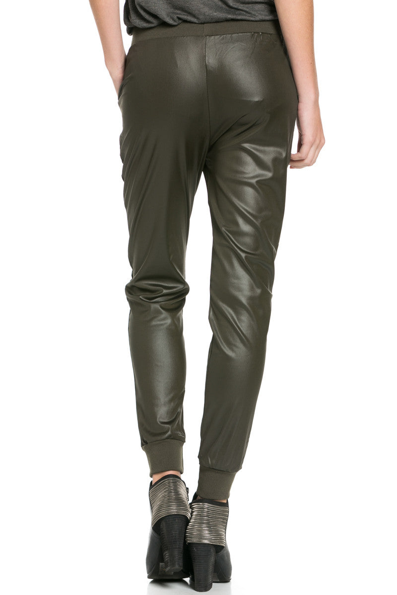 Pu Faux Leather Trouser Pants Olive - Pants - My Yuccie - 8