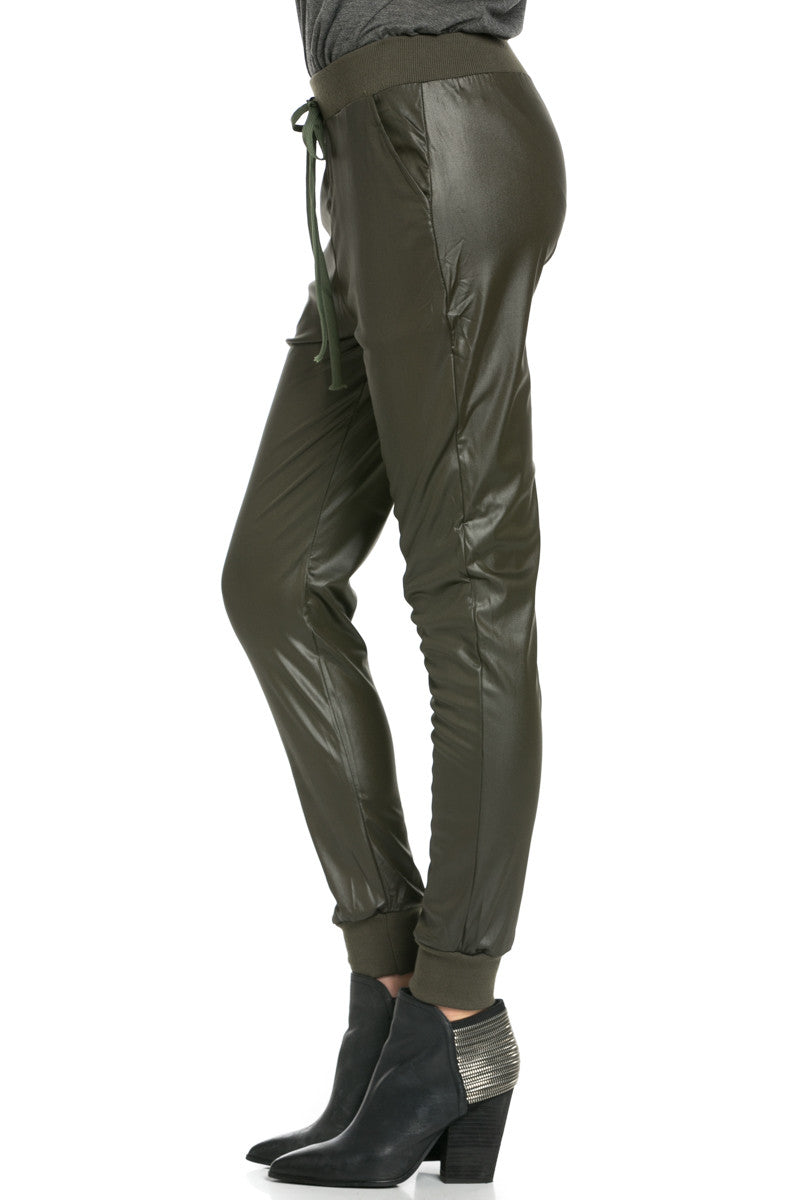 Pu Faux Leather Trouser Pants Olive - Pants - My Yuccie - 9