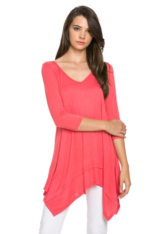 Classic Lightweight Knit Tunic Top Coral - Tunic - My Yuccie - 1