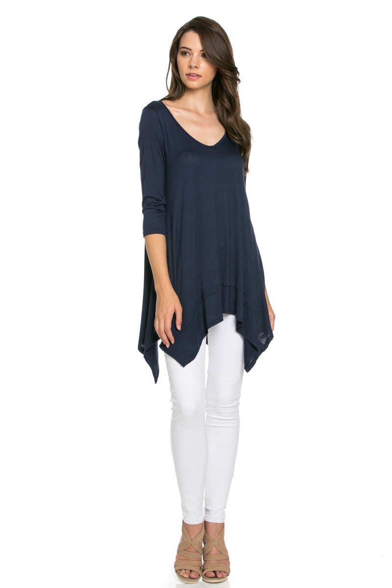 Classic Lightweight Knit Tunic Top Navy - Tunic - My Yuccie - 2