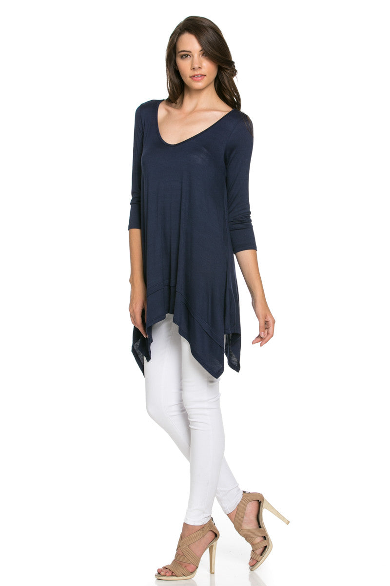 Classic Lightweight Knit Tunic Top Navy - Tunic - My Yuccie - 3