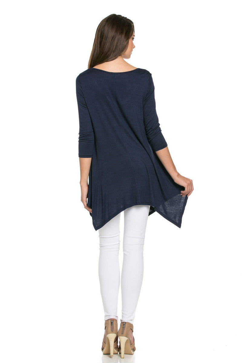 Classic Lightweight Knit Tunic Top Navy - Tunic - My Yuccie - 4