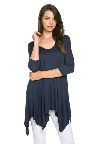 Classic Lightweight Knit Tunic Top Navy - Tunic - My Yuccie - 1